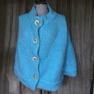 Ice Blue hand knit Horn button vintage poncho swea